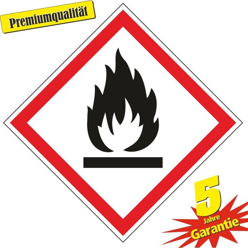 """Aufkleber Gefahrzeichen """"GHS02, entzündbare Gase"""", Premiumqualität verschiedene Größen"""