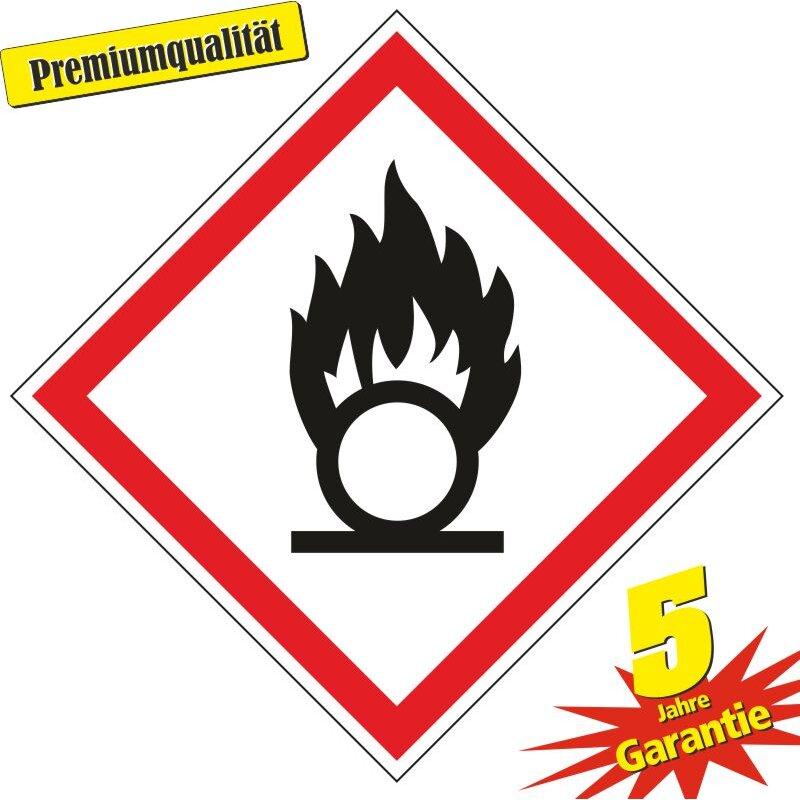 """Aufkleber Gefahrzeichen """"GHS03, oxidierende Flüssigkeiten"""", Premiumqualität verschiedene Größen"""