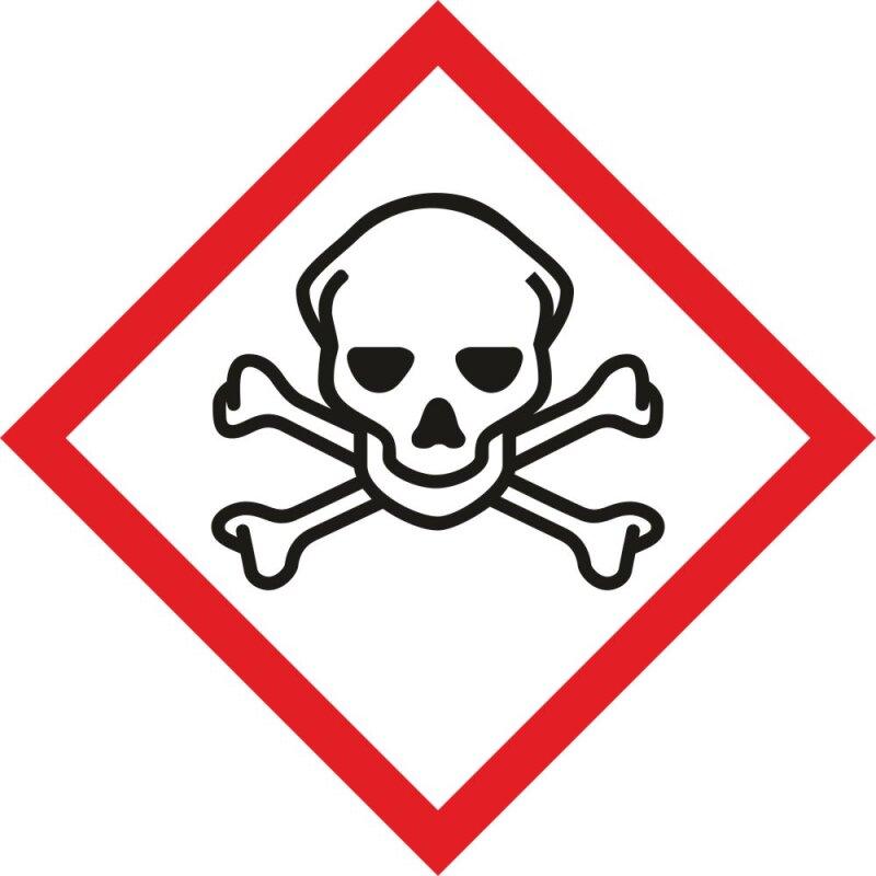"""Aufkleber Gefahrzeichen """"GHS06, akute Toxizität"""", Premiumqualität verschiedene Größen"""