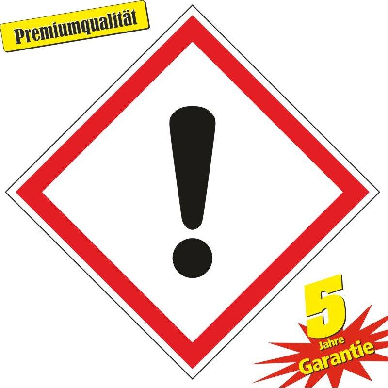 """Aufkleber Gefahrzeichen """"GHS07, Achtung"""", Premiumqualität verschiedene Größen"""