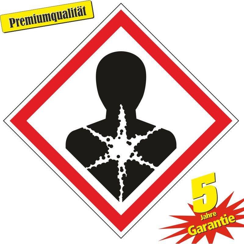 """Aufkleber Gefahrzeichen """"GHS08, Sensibilisierung der Atemwege"""", Premiumqualität verschiedene Größen"""
