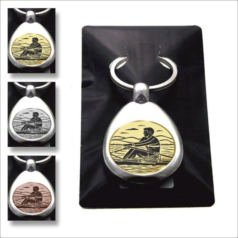 """""""Rudern"""" Schlüsselanhänger mit Einkaufschip Sport in Gold/Silber/Bronze"""