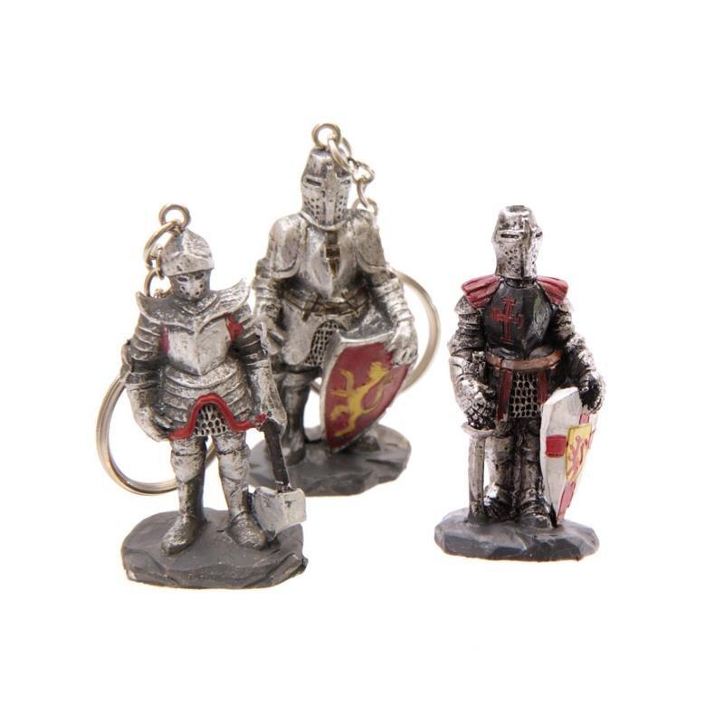 3er Set Mittelalterlicher Ritter Schlüsselanhänger Axt, Schild weiß, Schild rot