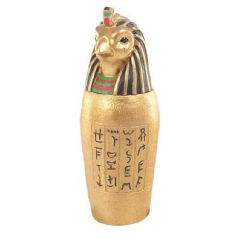 Goldenes Ägyptisches Kanope Gefäß Horus