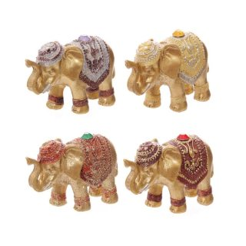 4er Set Metallic Glitzer Glücks-Elefant Räucherstäbchenhalter Rot, Grün, Gelb, Lila