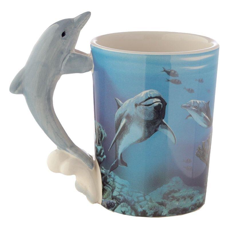 Delphintasse mit Delphinhenkel und Unterwasserwelt