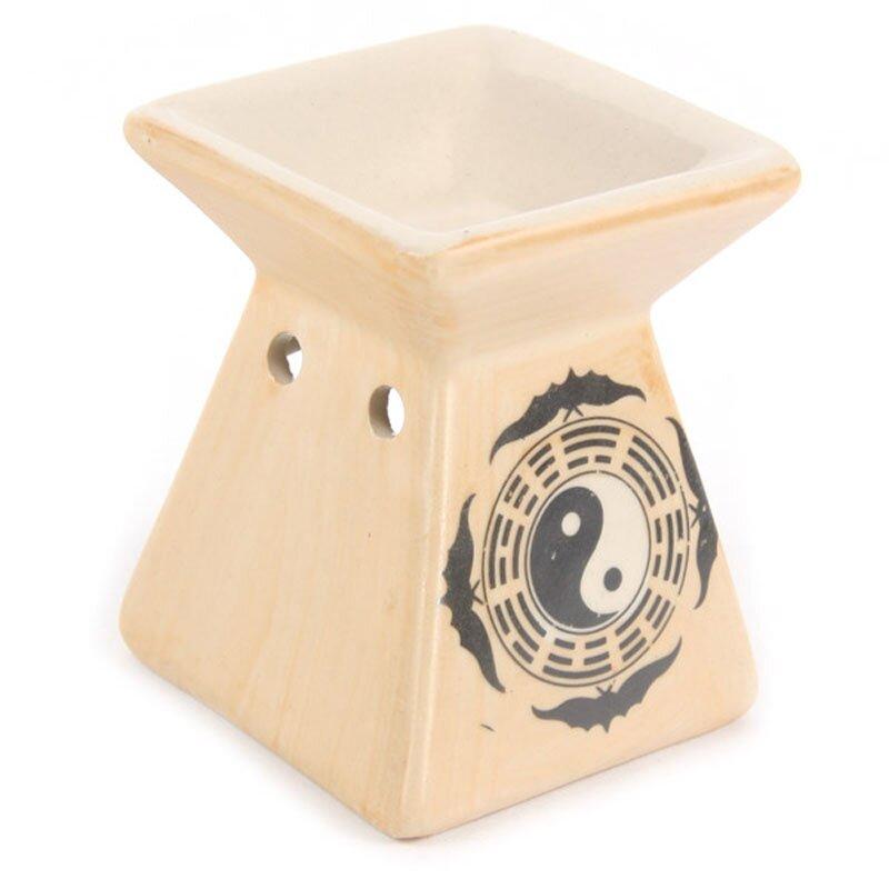 Keramik Duftlampe im Asien Design Yin und Yang Pyramide