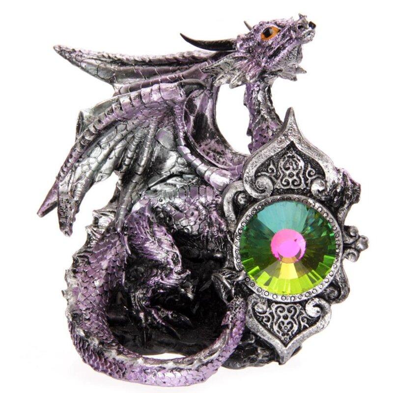 Lila Drachenskulptur mit Kristal