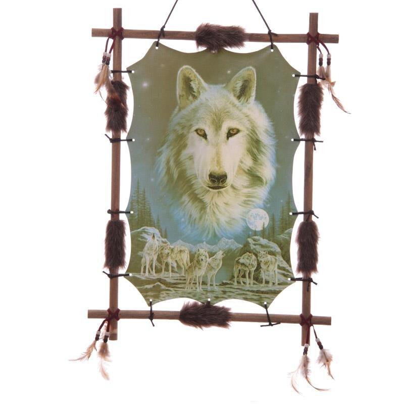 Wolfsbild mit Indianischem Bilderrahmen