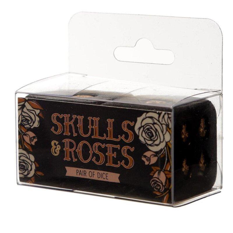 Skulls and Roses 2-er Set Schwarz und Gold Totenkopf Würfel