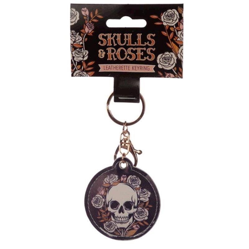 Skulls & Roses Schlüsselanhänger aus Kunstleder