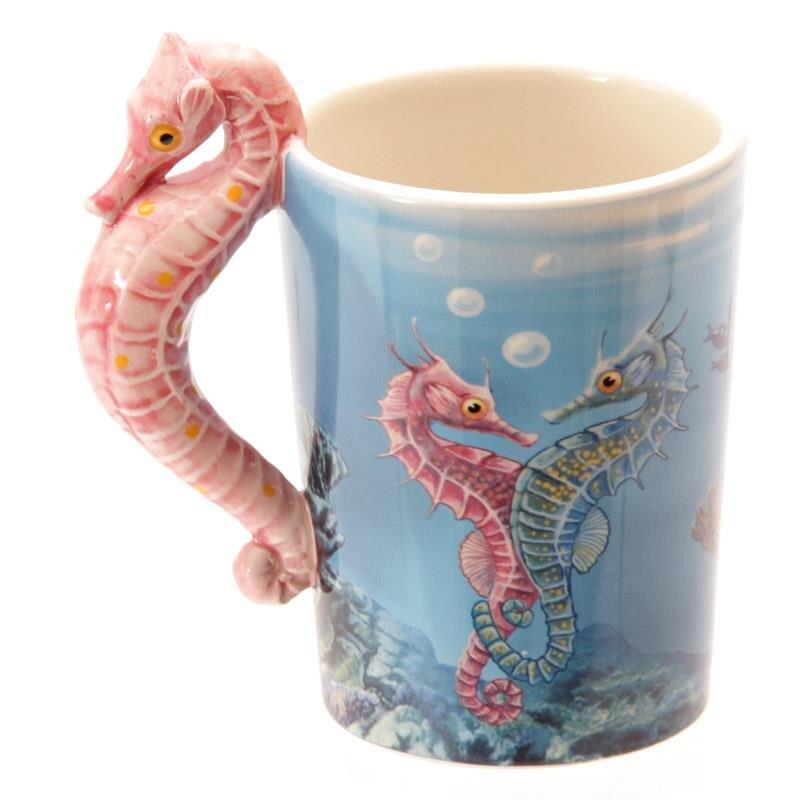 Lisa Parker Keramik Tasse mit Seepferdchen Henkel
