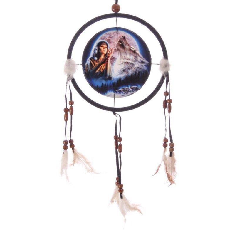 Traumfänger Wolf und Indianerin 32 cm