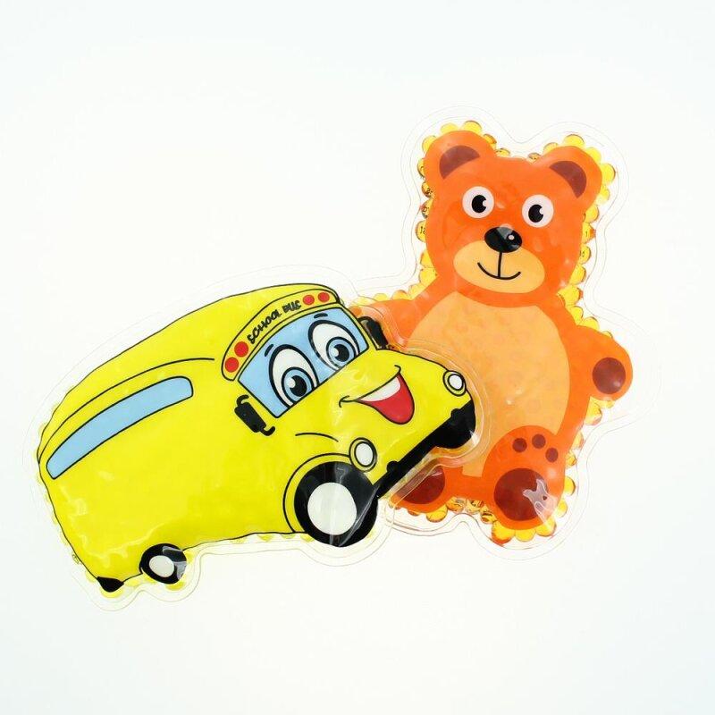 2 Kühlpads Bus/Gelbes Auto Teddybär