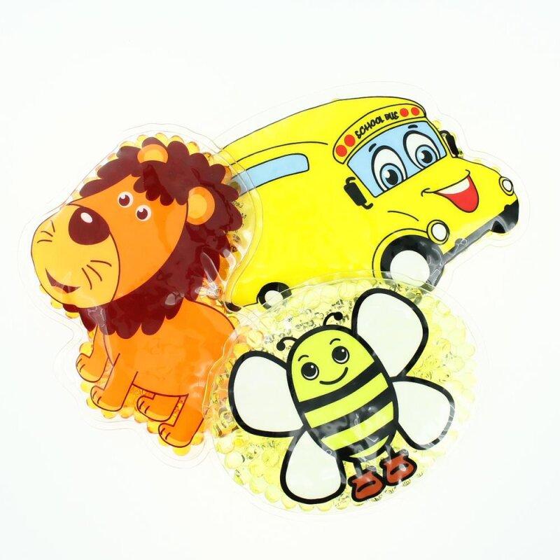 3 Kühlpads Löwe Biene Bus/Gelbes Auto