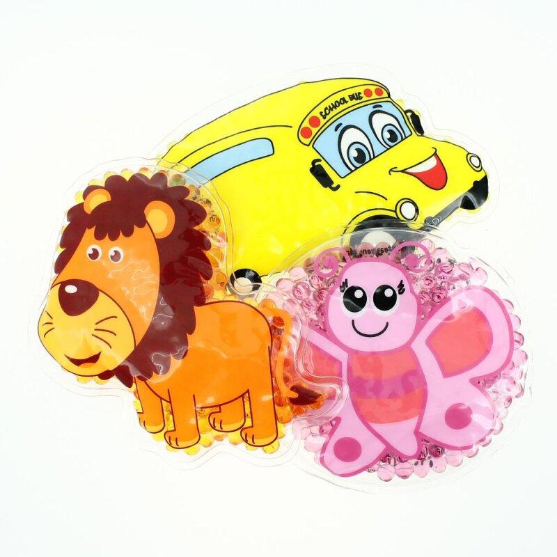 3 Kühlpads Löwe Schmetterling Bus/Gelbes Auto