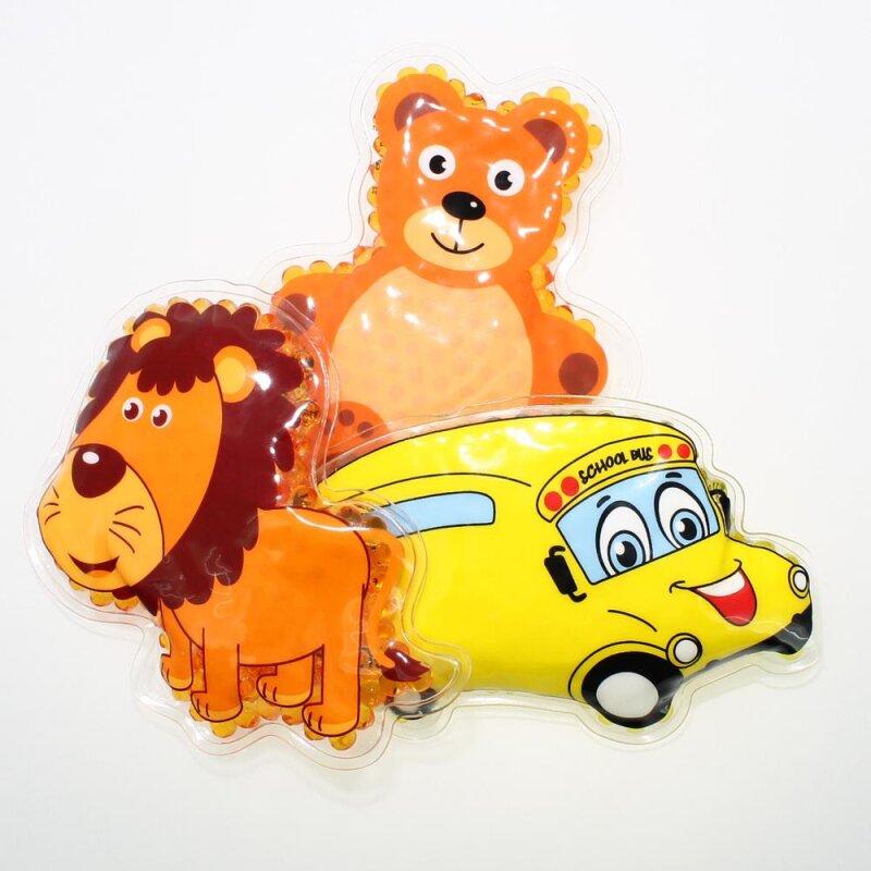 3 Kühlpads Löwe Bus/Gelbes Auto Teddybär