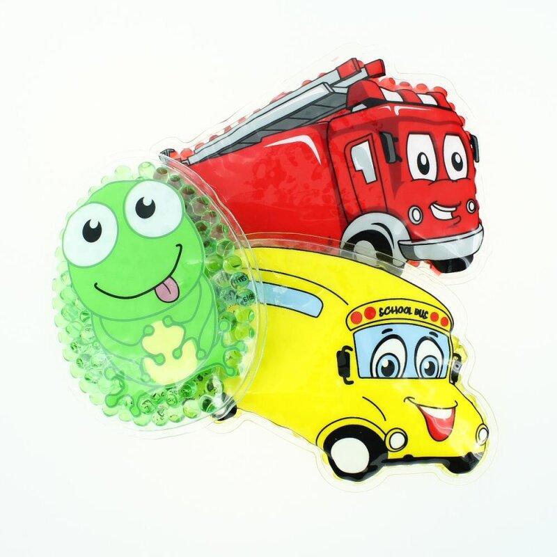 3 Kühlpads Frosch Bus/Gelbes Auto Feuerwehr