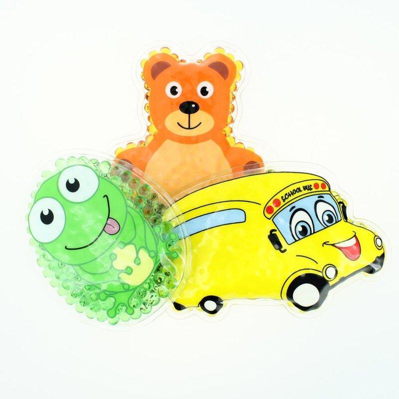 3 Kühlpads Frosch Bus/Gelbes Auto Teddybär