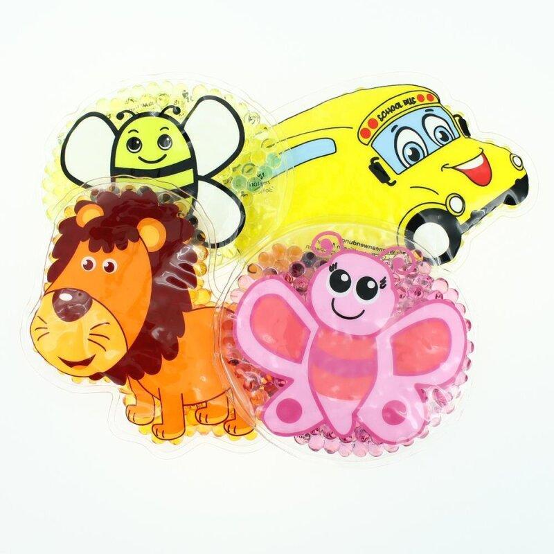 4 Kühlpads Löwe, Biene, Schmetterling, Bus/ Gelbes Auto