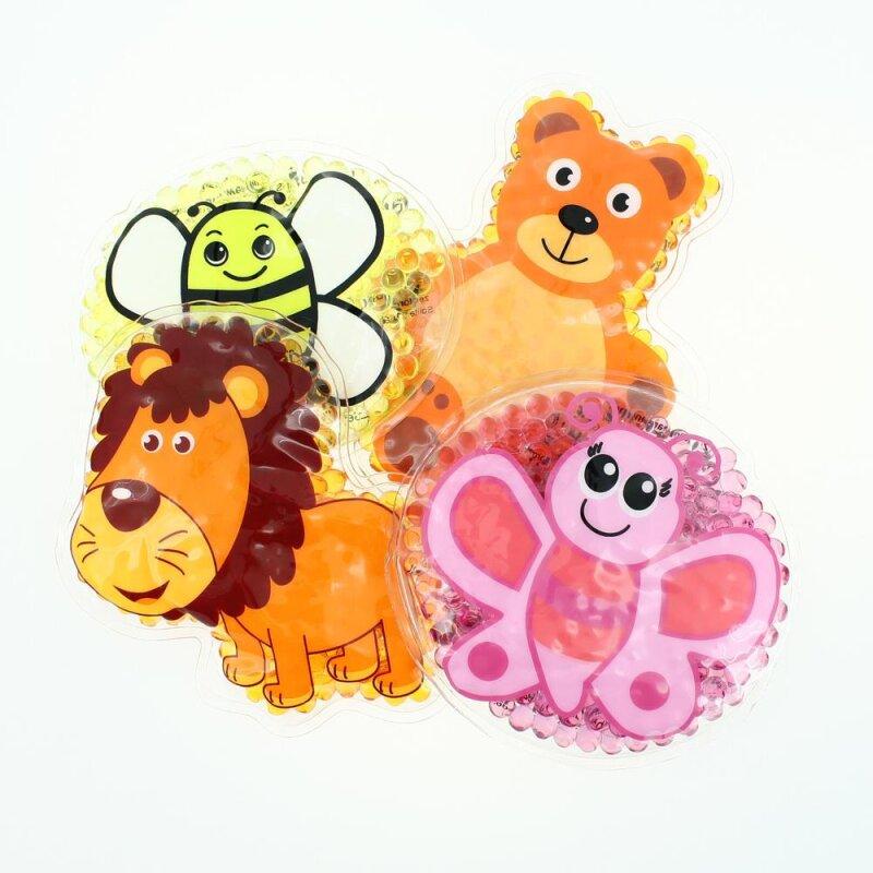 4 Kühlpads Löwe, Biene, Schmetterling, Teddybär