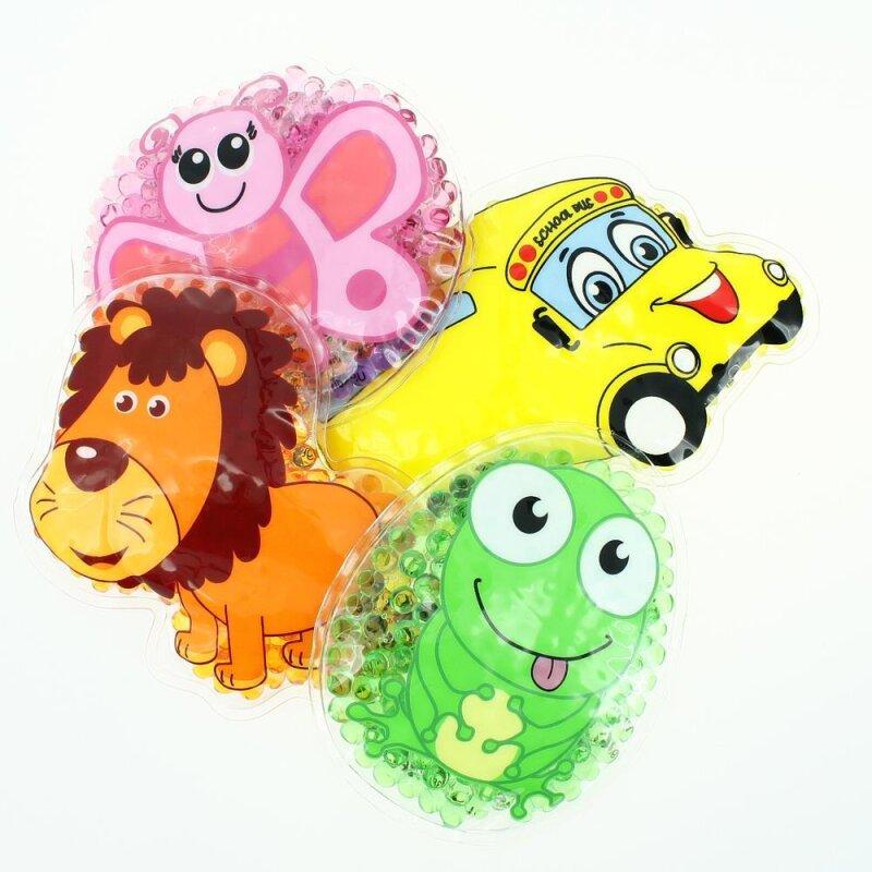4 Kühlpads Löwe, Schmetterling, Frosch, Bus/Gelbes Auto