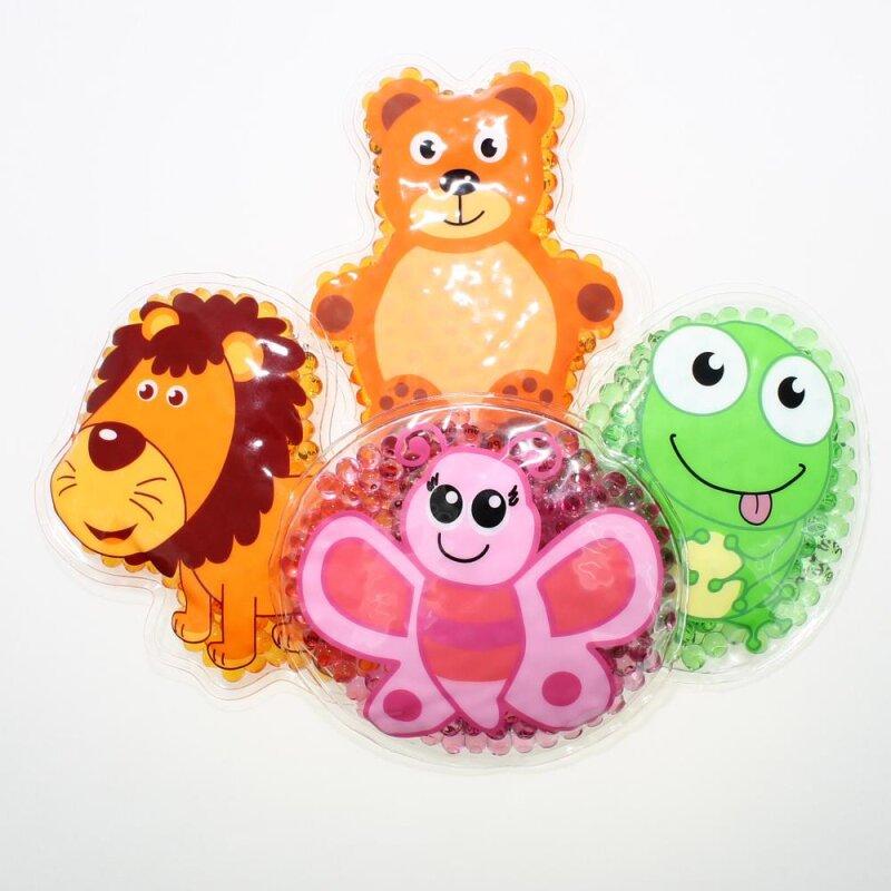 4 Kühlpads Löwe, Schmetterling, Frosch, Teddybär