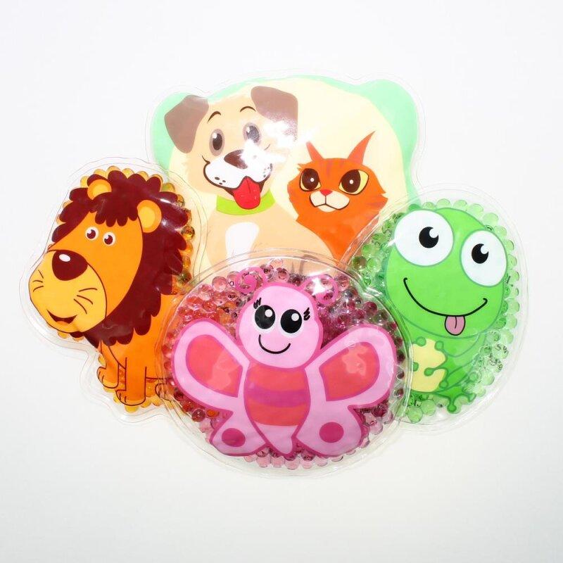 4 Kühlpads Löwe, Schmetterling, Frosch, Hund/Katze
