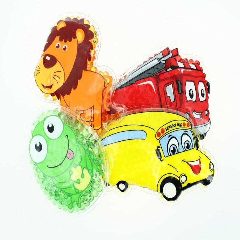 4 Kühlpads Löwe, Frosch, Bus/Gelbes Auto, Feuerwehr
