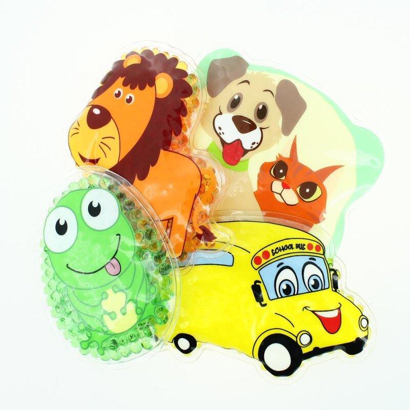 4 Kühlpads Löwe, Frosch, Bus/Gelbes Auto, Hund/Katze