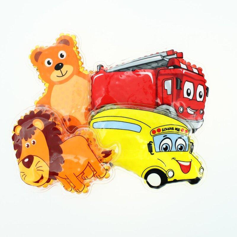4 Kühlpads Löwe, Bus/Gelbes Auto, Feuerwehr, Teddybär