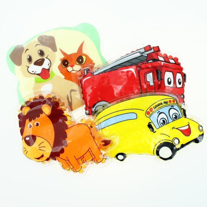 4 Kühlpads Löwe, Bus/Gelbes Auto, Feuerwehr, Hund/Katze