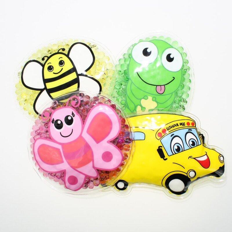 4 Kühlpads Biene, Schmetterling, Frosch, Bus/Gelbes Auto