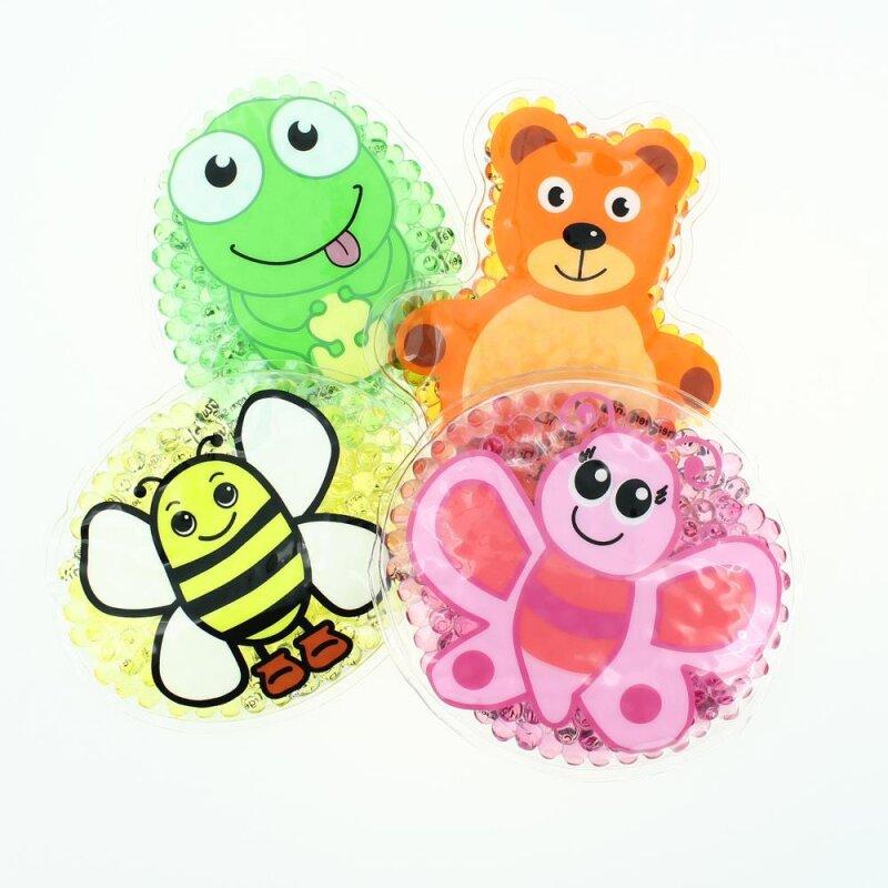 4 Kühlpads Biene, Schmetterling, Frosch, Teddybär