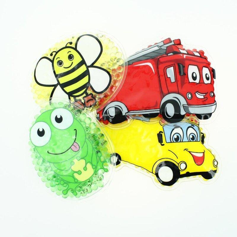 4 Kühlpads Biene, Frosch, Bus/Gelbes Auto, Feuerwehr