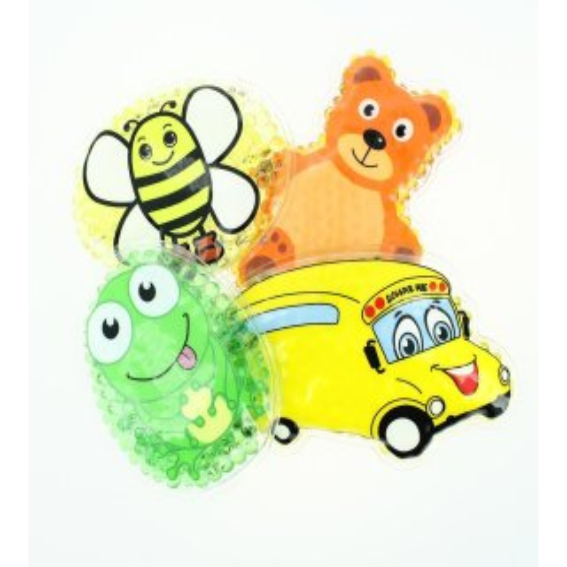 4 Kühlpads Biene, Frosch, Bus/Gelbes Auto, Teddybär