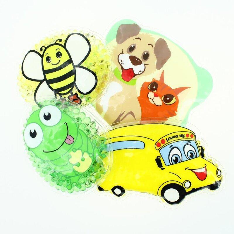 4 Kühlpads Biene, Frosch, Bus/Gelbes Auto, Hund/Katze