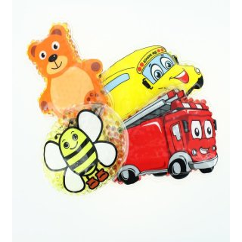 4 Kühlpads Biene, Bus/Gelbes Auto, Feuerwehr, Teddybär