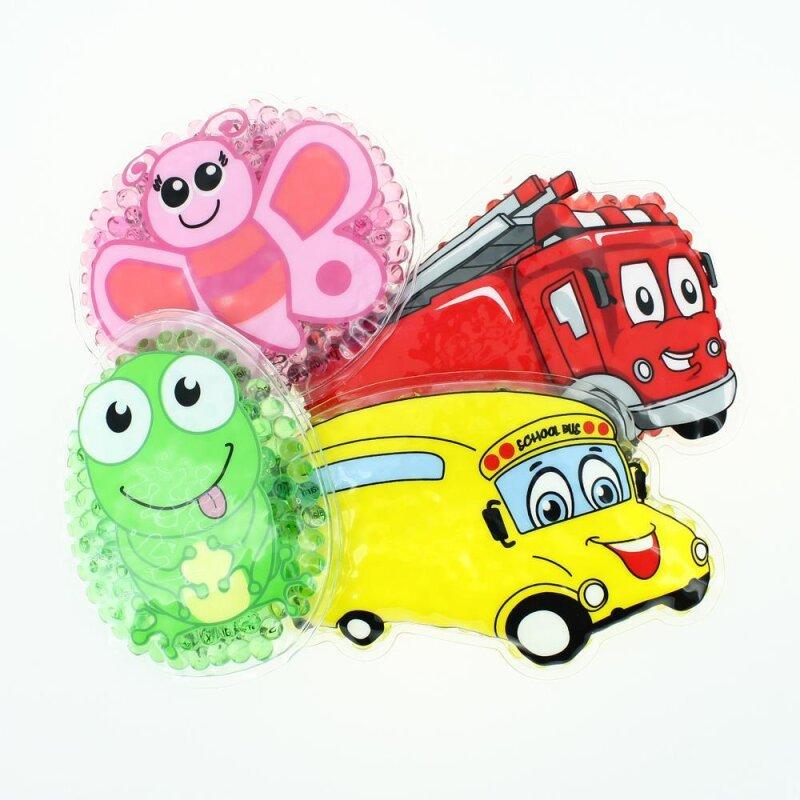 4 Kühlpads Schmetterling, Frosch, Bus/Gelbes Auto, Feuerwehr