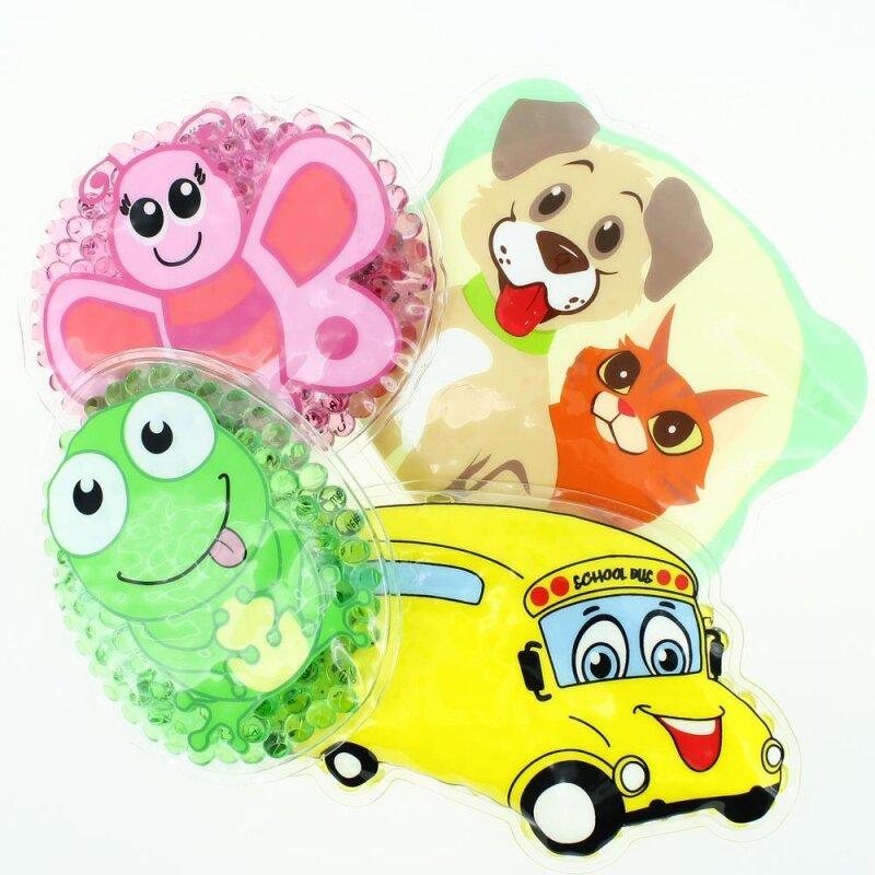 4 Kühlpads Schmetterling, Frosch, Bus/Gelbes Auto, Hund/Katze