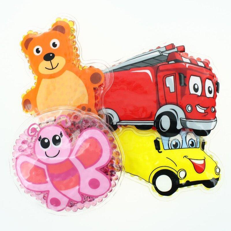 4 Kühlpads Schmetterling, Bus/Gelbes Auto, Feuerwehr, Teddybär