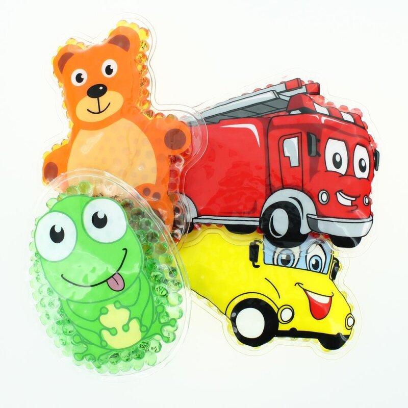 4 Kühlpads Frosch, Bus/Gelbes Auto, Feuerwehr, Teddybär