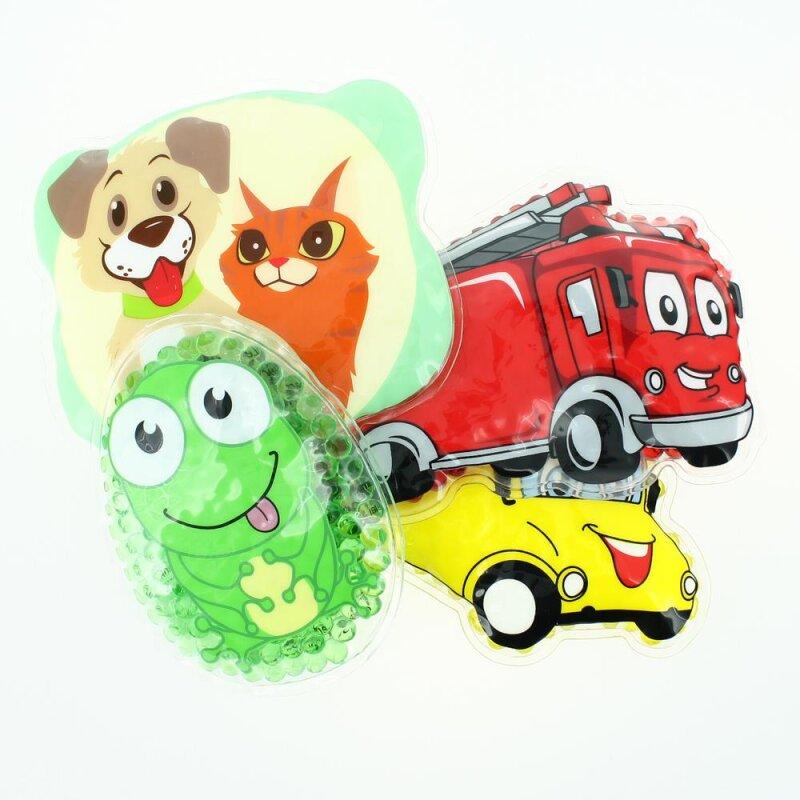 4 Kühlpads Frosch, Bus/Gelbes Auto, Feuerwehr, Hund/Katze
