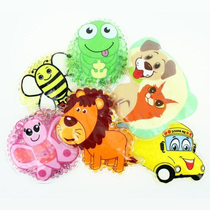 6 Kühlpads Löwe, Biene, Schmetterling, Frosch, Bus/Gelbes Auto, Hund/Katze
