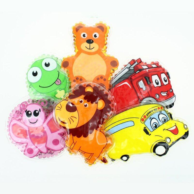 6 Kühlpads Löwe, Schmetterling, Frosch, Bus/Gelbes Auto, Feuerwehr, Teddybär