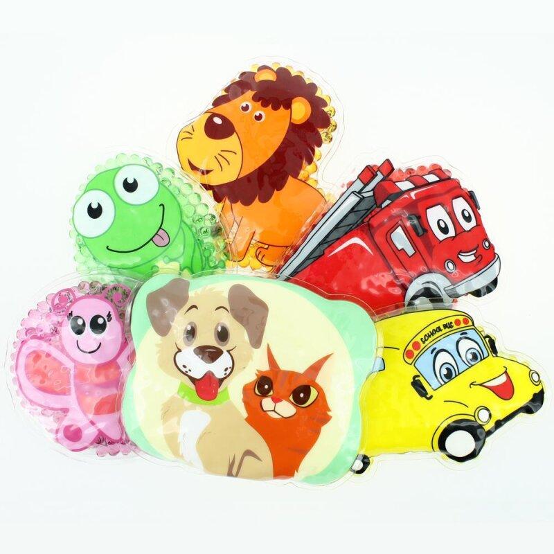 6 Kühlpads Löwe, Schmetterling, Frosch, Bus/Gelbes Auto, Feuerwehr, Hund/Katze