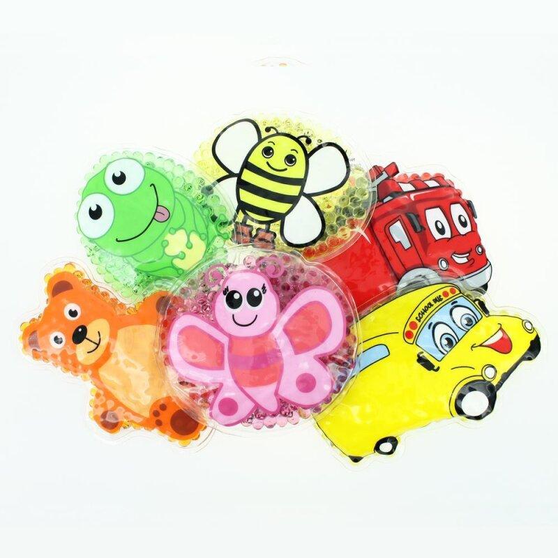 6 Kühlpads Biene, Schmetterling, Frosch, Bus/Gelbes Auto, Feuerwehr, Teddybär