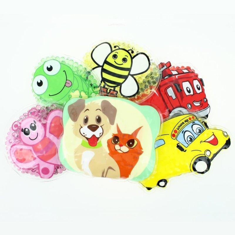 6 Kühlpads Biene, Schmetterling, Frosch, Bus/Gelbes Auto, Feuerwehr, Hund/Katze