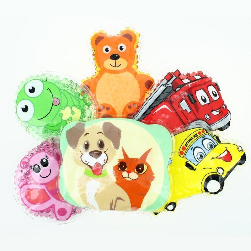 6 Kühlpads Schmetterling, Frosch, Bus/Gelbes Auto, Feuerwehr, Teddybär, Hund/Katze