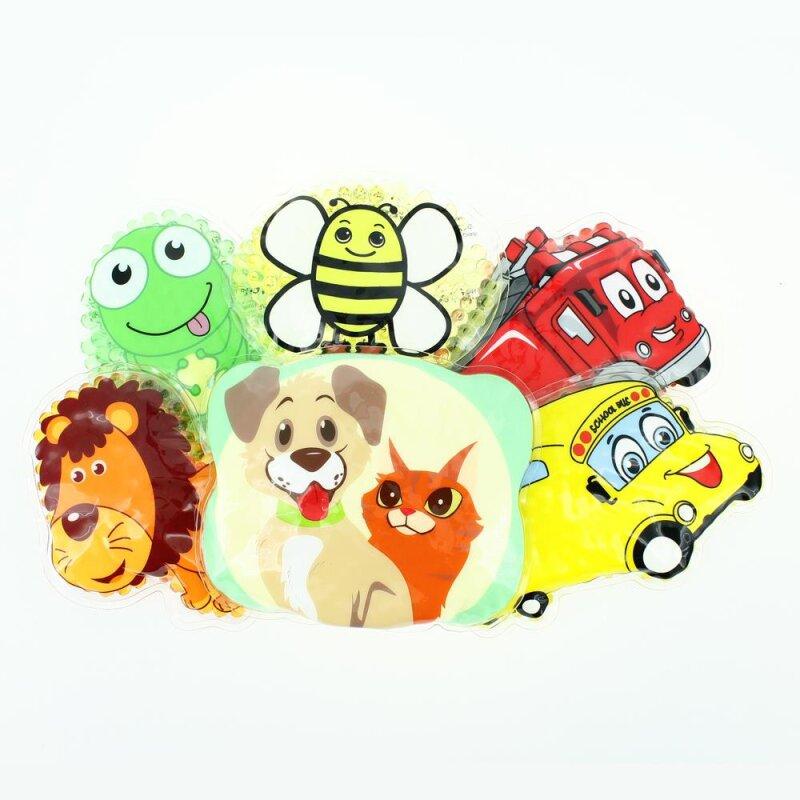 6 Kühlpads Löwe, Biene, Frosch, Bus/Gelbes Auto, Feuerwehr, Hund/Katze